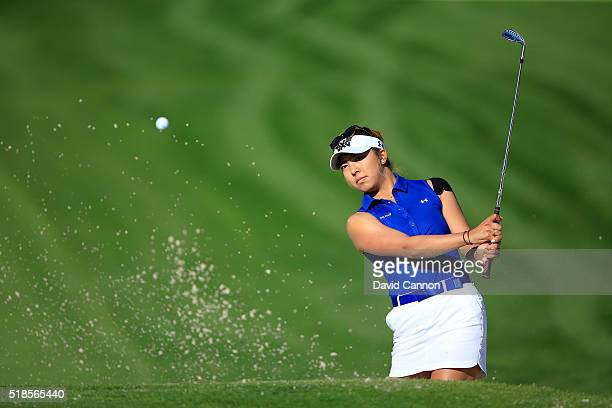 Alison Lee of the United States plays her third shot on the par 4 12th hole during the second round of the 2016 ANA Inspiration at the Mission Hills...