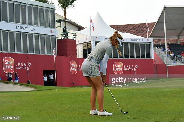 Alison Lee of the USA plays an approaching shot to the 18th hole during round one of the Sime Darby LPGA Tour at Kuala Lumpur Golf Country Club on...