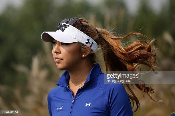 Alison Lee of United States on the 3rd hole during the second round of the LPGA KEBHana Bank Championship at the Sky 72 Golf Club Ocean Course on...