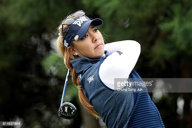Alison Lee of United States plays a tee shot on the 4th hole during the final round of the LPGA KEBHana Bank Championship at the Sky 72 Golf Club...
