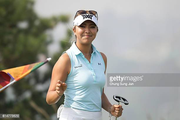 Alison Lee of United States reacts after a birdie putt on the 6th green during the third round of the LPGA KEBHana Bank Championship at the Sky 72...