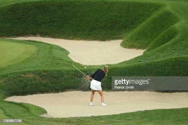 Alison Lee plays her shot on the 15th hole during the second round of the LPGA Drive On Championship at Inverness Club on August 1, 2020 in Toledo,...