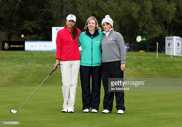 Alison Lee, referee Shona McRae and Manon Molle pose for a photograph at the start of the second day of play at the Junior Ryder Cup at Gleneagles on...