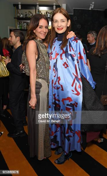 Alison Loehnis and Roksanda Ilincic attend a cocktail party in honour of Alison Loehnis' 10 year anniversary at NETAPORTER on February 19 2018 in...