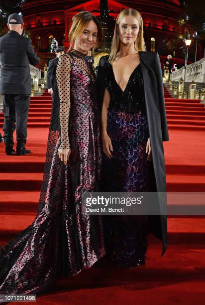 Alison Loehnis and Rosie HuntingtonWhiteley arrive at The Fashion Awards 2018 in partnership with Swarovski at the Royal Albert Hall on December 10...