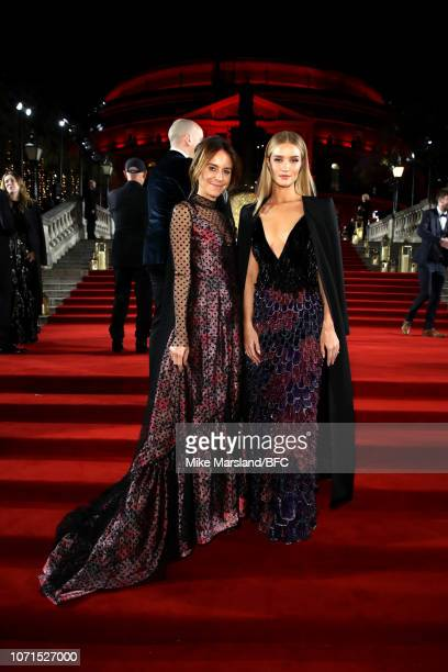 Alison Loehnis and Rosie HuntingtonWhiteley arrive at The Fashion Awards 2018 In Partnership With Swarovski at Royal Albert Hall on December 10 2018...