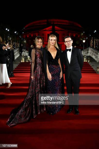 Alison Loehnis Rosie HuntingtonWhiteley and Erdem Moralioglu arrive at The Fashion Awards 2018 In Partnership With Swarovski at Royal Albert Hall on...