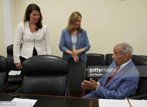 Alison LunderganGrimes Secretary of State of Kentucky and Denise Merrill Secretary of State of Connecticut speak with House Judiciary ranking member...
