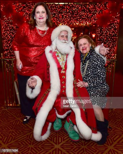 Alison Mazzola Santa Claus and Sylvia Mazzola attend George Farias Anne Jay McInerney Host A Holiday Party at The Doubles Club on December 13 2018 in...