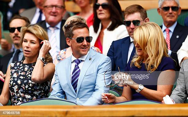 Alison McGinley Ian Poulter and wife Katie Poulter on Centre Court for the Ladies' Singles Fourth Round match between Serena Williams of the United...