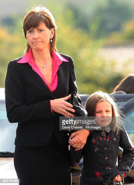 Alison McRae and her daughter Hollie arrive for the Service of Celebration for her husband Colin McRae and their son Johnny McRae taking place at St...
