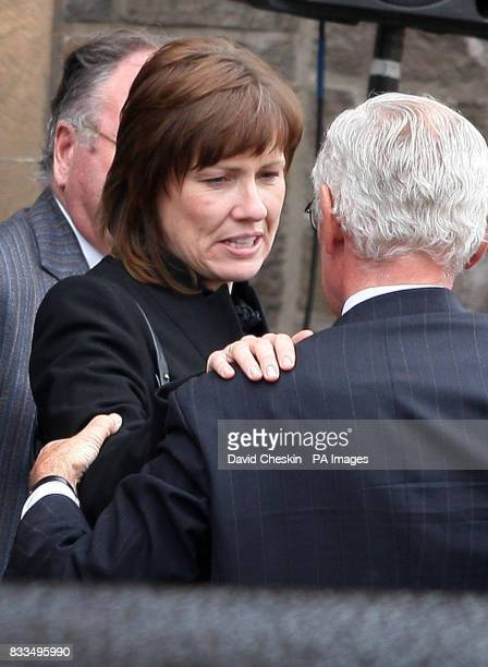 Alison McRae departs the funeral Ben Porcelli who died in a helicopter crash with rally driver Colin McRae, at Greyfriars Kirk, Lanark.