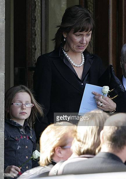 Alison McRae leaves the funeral of her husband Colin McRae and son Johnny at East Chapel, Daldowie Crematorium on September 26, 2007 in Glasgow,...
