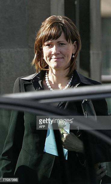 Alison McRae wife of former world rally champion Colin McRae leaves after a funeral service for her husband and son Johnny at East Chapel Daldowie...