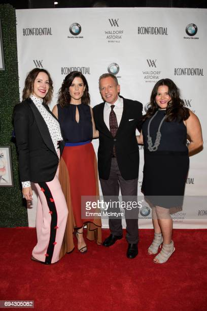 Alison Miller actress Neve Campbell Spencer Beck and Valerie Robles attend 'Los Angeles Confidential Women of Influence tea hosted by Neve Campbell'...
