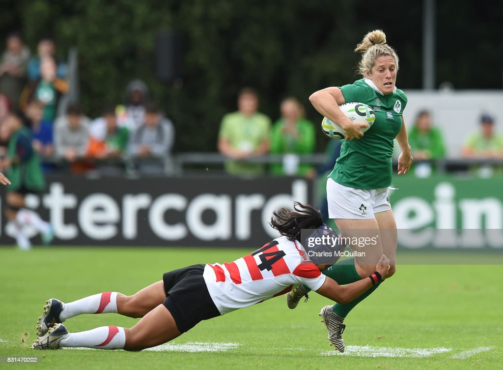 Alison Miller of Ireland and Eriko Hirano of Japan during the Womens Rugby World Cup 2017 Pool C game between Ireland and Japan at UCD Bowl on August 13, 2017 in Dublin, Ireland.