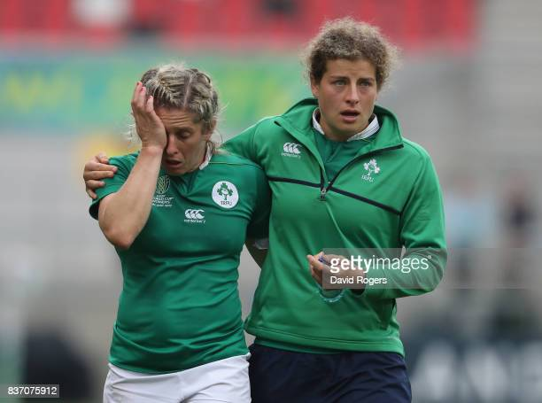 Alison Miller of Ireland is conforted by a team mate after their defeat during the Women's Rugby World Cup 2017 match between Ireland and Australia...
