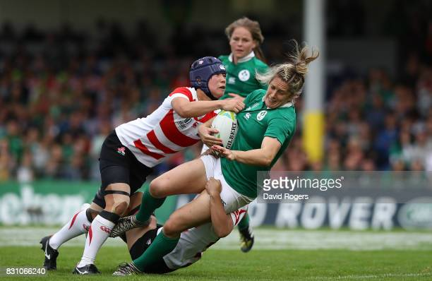 Alison Miller of Ireland is tackled by Minori Yamamoto of Japan during the Women's Rugby World Cup 2017 match between Ireland and Japan on August 13,...