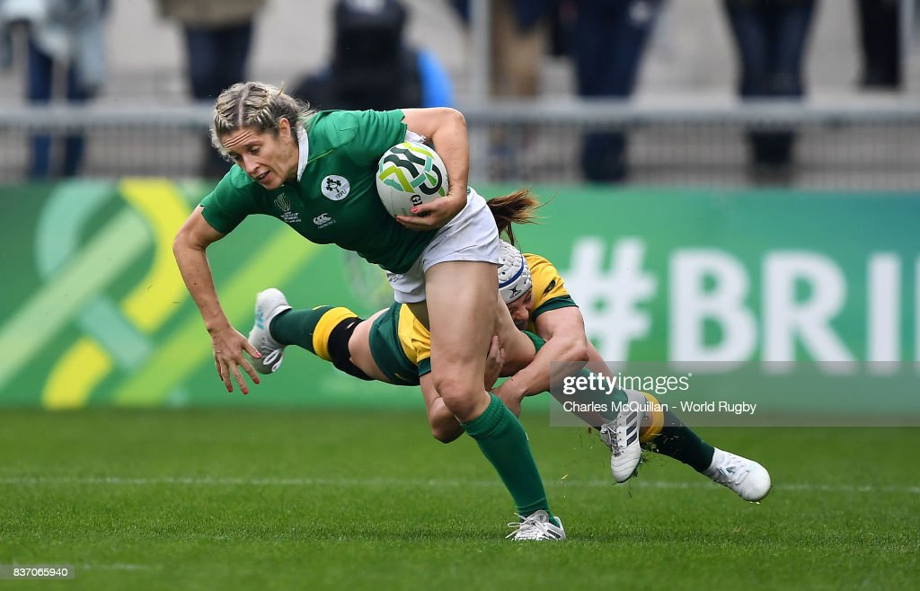 Alison Miller of Ireland is tackled by Sharmi Williams of Australia during the Womens Rugby World Cup 5th place semi-final at the Kingspan Stadium on August 22, 2017 in Belfast, United Kingdom.