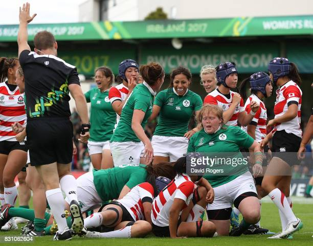 Alison Miller of Ireland scores a try during the Women's Rugby World Cup 2017 match between Ireland and Japan on August 13 2017 in Dublin Ireland