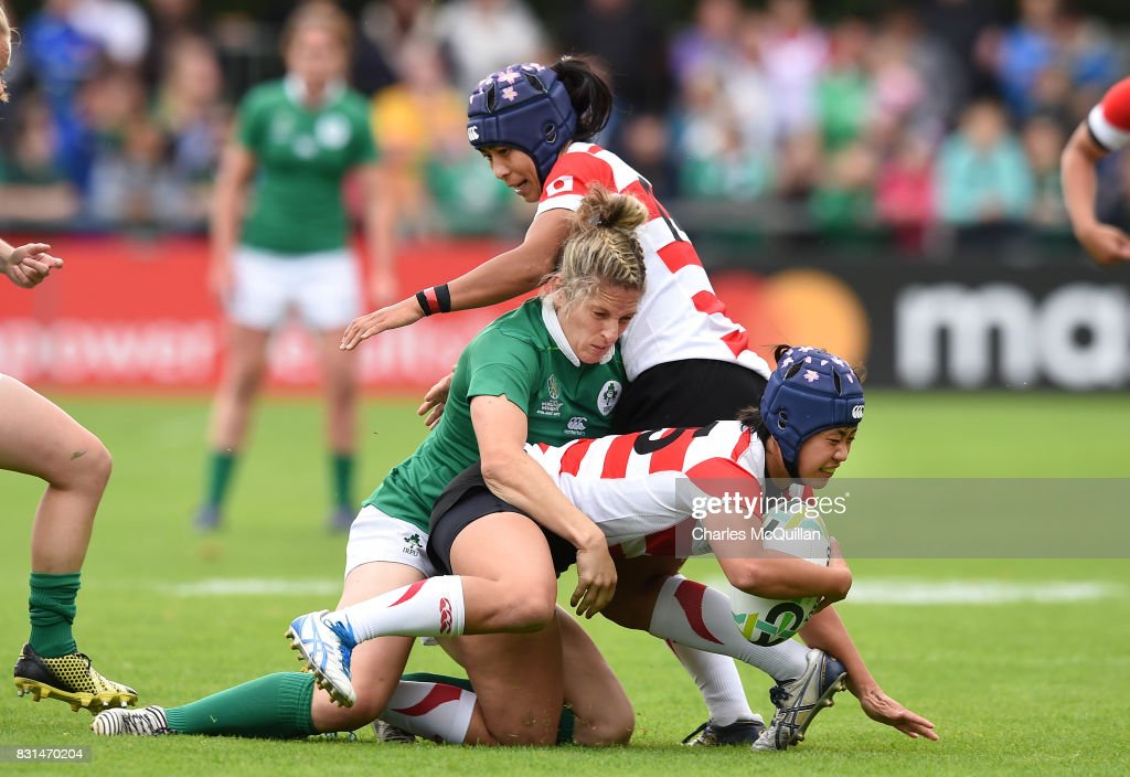 Alison Miller of Ireland tackles Mayu Shimizu of Japan during the Womens Rugby World Cup 2017 Pool C game between Ireland and Japan at UCD Bowl on August 13, 2017 in Dublin, Ireland.