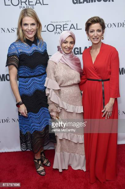 Alison Moore Syrian activist Muzoon Almellehan and Glamour Magazine Editor in Chief Cindi Leive attend Glamour's 2017 Women of The Year Awards at...
