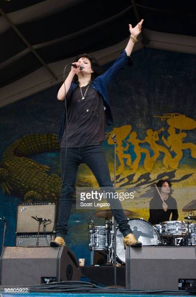 Alison Mosshart and Jack White of The Dead Weather performs during the 41st Annual New Orleans Jazz Heritage Festival Presented by Shell at Fair...