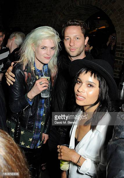 Alison Mosshart Derek Blasberg and Zoe Kravitz attend a party hosted by Equipment celebrating the release of Paris Spleen The Kills Live At L'Olympia...