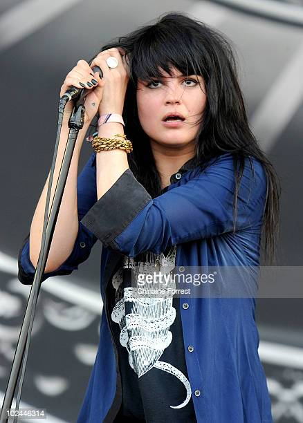 Alison Mosshart of The Dead Weather performs on the Pyramid stage on day three of the Glastonbury Festival at Worthy Farm on June 26 2010 in...