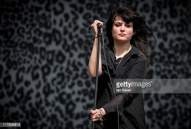 Alison Mosshart of 'The Kills' performs live on the other stage during the Glastonbury Festival at Worthy Farm Pilton on June 25 2011 in Glastonbury...