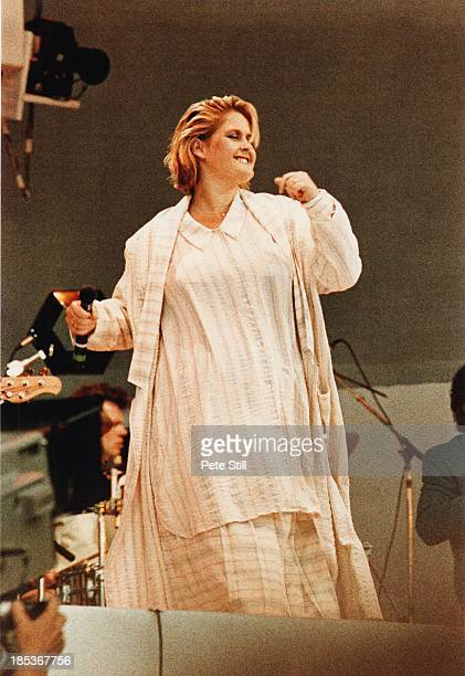Alison Moyet performs on stage at Live Aid Wembley Stadium on July 13th 1985 in London England