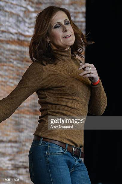 Alison Moyet performs on stage in support of One campaign's Agit8 event at Tate Modern on June 13 2013 in London England