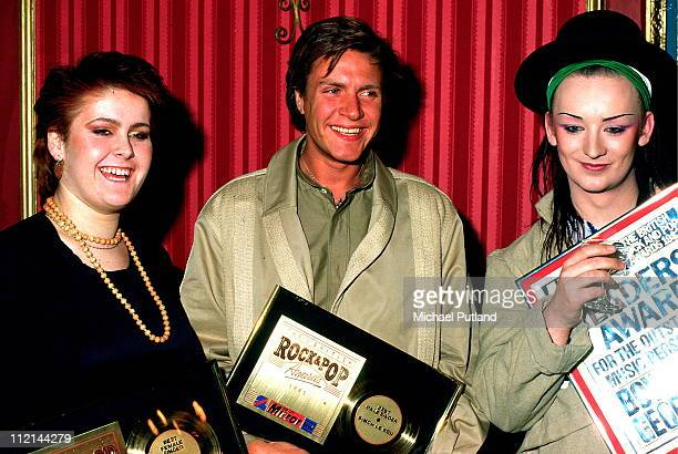 Alison Moyet Simon LeBon of Duran Duran and Boy George of Culture Club pose at the Daily Mirror Rock Pop Awards February 1982