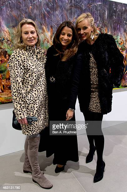 Alison Myners Katy Wickremesinghe and Bodil Blain attend the private view for Ali Banisadrs' show 'At Once' at Blain Southern on February 10 2015 in...