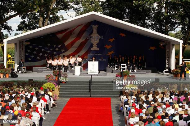 Alison Nicholas captain of the European Team speaks on stage during the opening ceremonies for the 2009 Solheim Cup at Rich Harvest Farms on August...