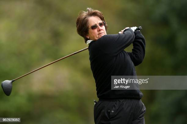Alison Nicholas of Beau Desert GC tees off during the WPGA One Day Series at Little Aston Golf Club on April 30 2018 in Sutton Coldfield England
