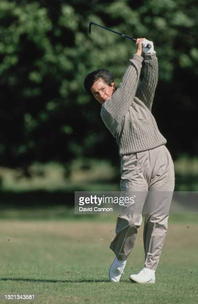 Alison Nicholas of Great Britain drives off the fairway during the Weetabix Women's British Open golf tournament on 2nd August 1988 at the Lindrick...