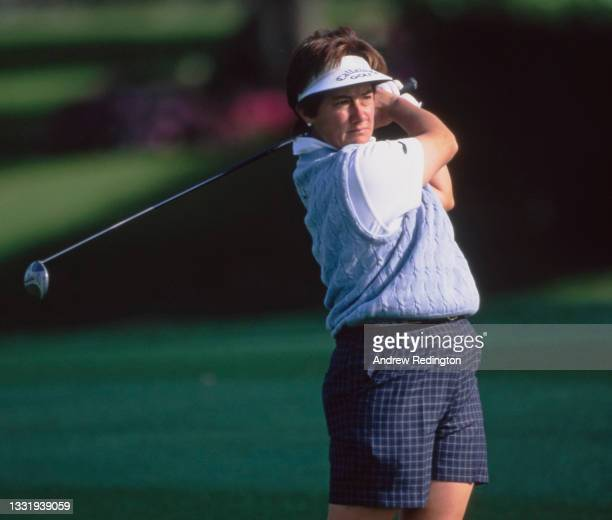 Alison Nicholas of Great Britain drives off the tee during the 28th edition of the Nabisco Dinah Shore golf tournament on 27th March 1999 at the...