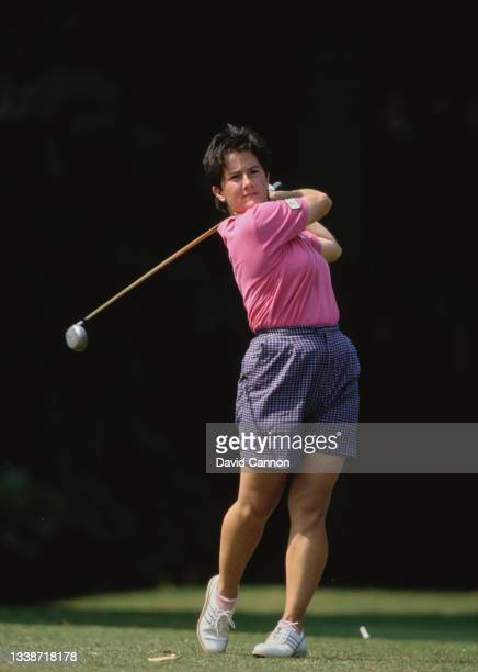 Alison Nicholas of Great Britain drives off the tee during the Weetabix Women's British Open golf tournament on 1st August 1990 at the Woburn Golf...