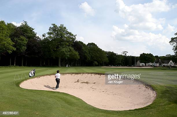 Alison Nicholas of Hagley GC plays from the bunker during the Glenmuir Women's PGA Professional Championship Qualifier at Little Aston Golf Club on...
