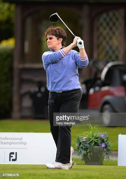 Alison Nicholas of Hagley Golf Club plays her first shot on the 1st tee during the Titleist and FootJoy Women's PGA Professional Championship...