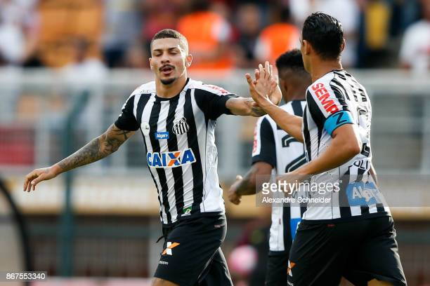 Alison of Santos celebrates their first goal during the match between Sao Paulo and Santos for the Brasileirao Series A 2017 at Pacaembu Stadium on...