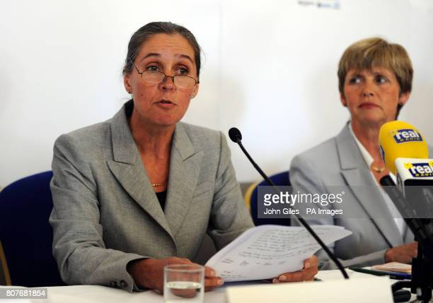 Alison O'Sullivan and Bron Sanders members of the serious case review panel talk to the media about the Shannon Matthews case at a press conference...