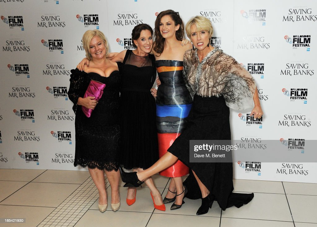 Alison Owen, Kelly Marcel, Ruth Wilson and Emma Thompson attend the Closing Night Gala European Premiere of 'Saving Mr Banks' during the 57th BFI London Film Festival at Odeon Leicester Square on October 20, 2013 in London, England.