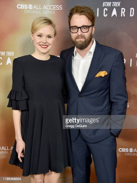 Alison Pill and Joshua Leonard attend the Premiere Of CBS All Access' Star Trek Picard at ArcLight Cinerama Dome on January 13 2020 in Hollywood...