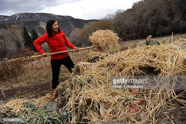 Alison puts straw on top of the couple's compost pile They compost everything Alison Gannett is known internationally as a world champion big...