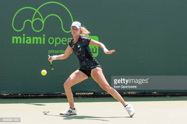Alison Riske competes during the qualifying round of the 2018 Miami Open on March 20 at Tennis Center at Crandon Park in Key Biscayne FL