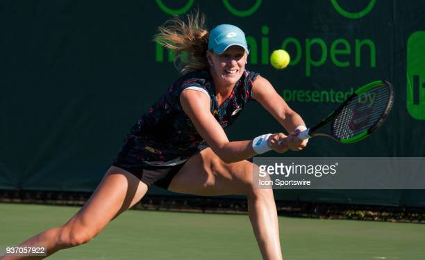 Alison Riske in action on Day 4 of the Miami Open on March 22 at Crandon Park Tennis Center in Key Biscayne FL
