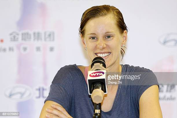Alison Riske of the United State speaks to media after the match against Agnieszka Radwanska of Poland during Day 5 of 2017 WTA Shenzhen Open at...
