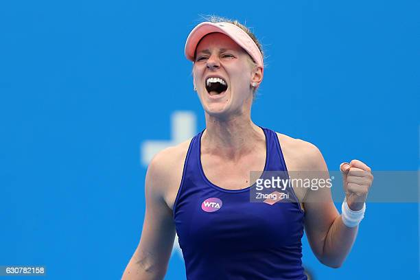 Alison Riske of the United States celebrates a shot during her match against Lin Zhu of China during Day 1 of 2017 WTA Shenzhen Open at Longgang...